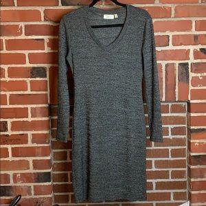 RD Style Salt & Pepper Long Sleeve V-Neck Dress